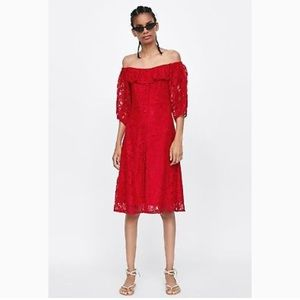 Zara red lace off the shoulder midi dress